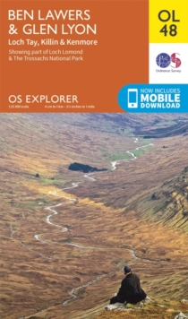 Ben Lawers & Glen Lyon, Loch Tay, Killin & Kenmore, Sheet map, folded
