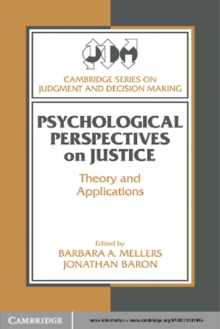 Image of Psychological Perspectives on Justice : Theory and Applications