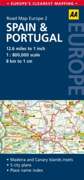 2. Spain & Portugal : AA Road Map Europe, Sheet map, folded