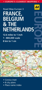 3. France, Belgium & the Netherlands : AA Road Map Europe, Sheet map, folded