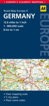 4. Germany : AA Road Map Europe, Sheet map, folded Book