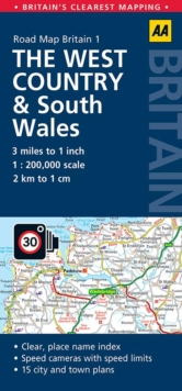 West Country & Wales Road Map, Sheet map, folded