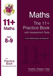 11+ Maths Practice Book with Assessment Tests (Age 8-9) for the CEM Test, Paperback