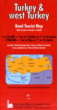 Turkey and West Turkey Road Tourist Map Including Town Plan of Istanbul, Sheet map, folded Book