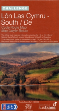Lon Las Cymru South - Sustrans Cycle Route Map - NN8A : The Official Route Map and Information Covering the 118 or 104 Miles of the National Cycle Network Between Llanidloes and Cardiff or Chepstow, Sheet map, folded