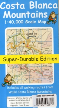 Costa Blanca Mountains Tour & Trail Super-durable Map, Sheet map, folded