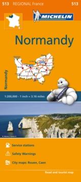 Normandy (Normandie) Map 513 : Michelin Regional Maps: France, Sheet map, folded Book