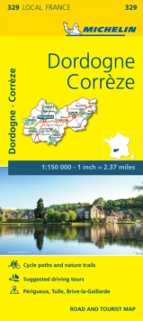 Correze, Dordogne, France Local Map 329, Sheet map, folded