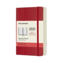 Moleskine 2021 12-Month Daily Pocket Softcover Diary : Scarlet Red - Book