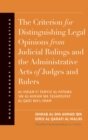 The Criterion for Distinguishing Legal Opinions from Judicial Rulings and the Administrative Acts of Judges and Rulers - eBook