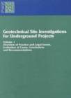 Geotechnical Site Investigations for Underground Projects : Volume 1 - Book