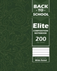 Back To School Elite Notebook, Wide Ruled Lined 8 x 10 Inch, Grade School, Students, Large 100 Sheet Notebook Green - Book