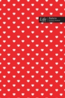 Hearts Pattern Composition Notebook, Dotted Lines, Wide Ruled Medium Size 6 x 9 Inch (A5), 144 Sheets Red Cover - Book