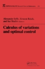 Calculus of Variations and Optimal Control : Technion 1998 - eBook
