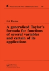 A Generalized Taylor's Formula for Functions of Several Variables and Certain of its Applications - eBook