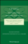 Wittgenstein : Meaning and Mind (Volume 3 of an Analytical Commentary on the Philosophical Investigations), Part 1: Essays - Book