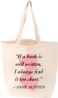 Jane Austen Quote LoveLit Tote FIRM SALE - Book