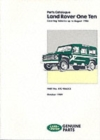 Land Rover One Ten Parts Catalogue : Up to August 1986 - Book
