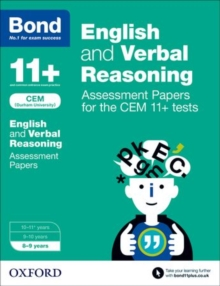 Bond 11+ English and Verbal Reasoning Assessment Papers for the CEM 11+ tests : 8-9 years, Paperback Book