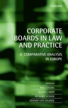 Corporate Boards in Law and Practice : A Comparative Analysis in Europe, Hardback Book