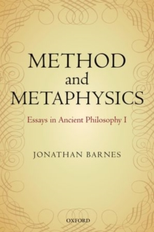 Method and Metaphysics : Essays in Ancient Philosophy I, Paperback / softback Book