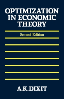 Optimization in Economic Theory, Paperback Book