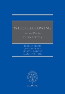 Whistleblowing : Law and Practice, Hardback Book