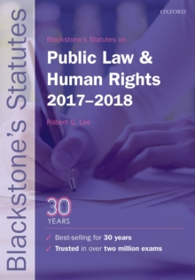 Blackstone's Statutes on Public Law & Human Rights 2017-2018, Paperback Book