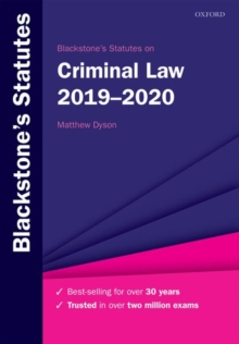 Blackstone's Statutes on Criminal Law 2019-2020, Paperback / softback Book