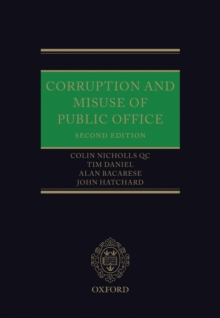 Corruption and Misuse of Public Office, Hardback Book