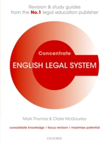English Legal System Concentrate : Law Revision and Study Guide, Paperback / softback Book