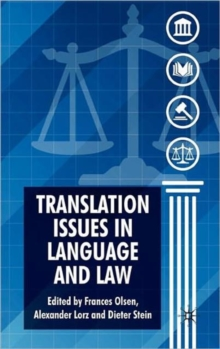 Translation Issues in Language and Law, Hardback Book