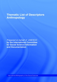 Thematic List of Descriptors - Anthropology, Hardback Book