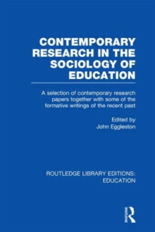 Contemporary Research in the Sociology of Education, Hardback Book