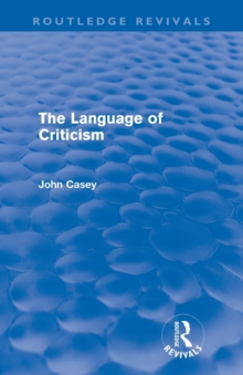 The Language of Criticism, Paperback Book