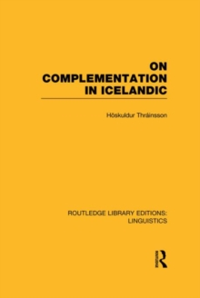 On Complementation in Icelandic, Hardback Book
