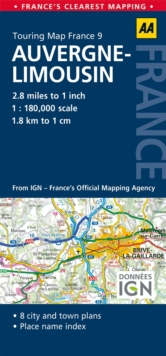 9. Auvergne & Limousin : AA Road Map France, Sheet map, folded Book