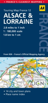 12. Alsace & Lorraine : AA Road Map France, Sheet map, folded Book