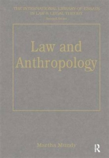Law and Anthropology, Hardback Book