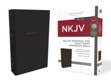 NKJV, Deluxe Reference Bible, Personal Size Giant Print, Leathersoft, Black, Red Letter Edition, Comfort Print, Leather / fine binding Book