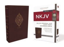 NKJV, Deluxe Reference Bible, Personal Size Giant Print, Leathersoft, Burgundy, Indexed, Red Letter Edition, Comfort Print, Leather / fine binding Book