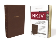 NKJV, Reference Bible, Center-Column Giant Print, Leathersoft, Brown, Red Letter Edition, Comfort Print, Leather / fine binding Book