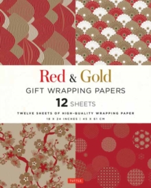 Red and Gold Gift Wrapping Papers : 12 Sheets of High-Quality 18 x 24 inch Wrapping Paper, Paperback / softback Book