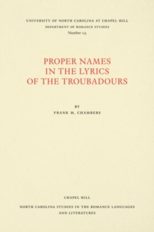 Proper Names in the Lyrics of the Troubadours, Paperback / softback Book