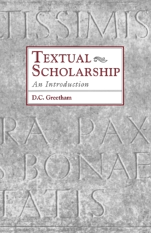 Textual Scholarship : An Introduction, Paperback Book
