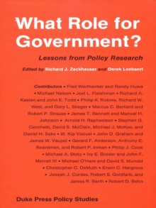 What Role for Government? : Lessons from Policy Research, Hardback Book