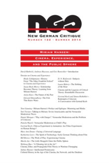 Miriam Hansen : Cinema, Experience, and the Public Sphere, Paperback / softback Book