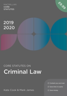 Core Statutes on Criminal Law 2019-20, Paperback / softback Book