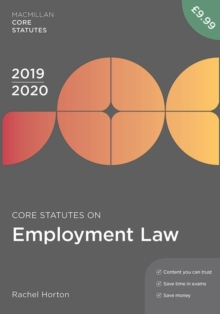 Core Statutes on Employment Law 2019-20, Paperback / softback Book
