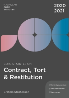Core Statutes on Contract, Tort & Restitution 2020-21, Paperback / softback Book